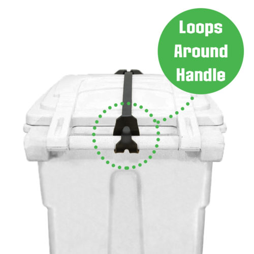 Loops the Strong Strap around the handle of a trash can