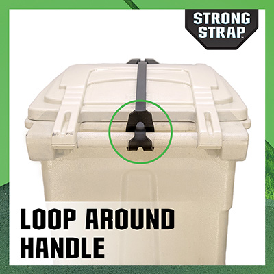Loop the strong strap around the handle of a garbage can