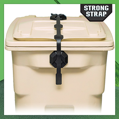 Shows the Strong Strap locking a hinged lid trash can