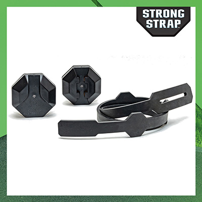 Shows the three pieces of the Strong Strap garbage can lid locking kit